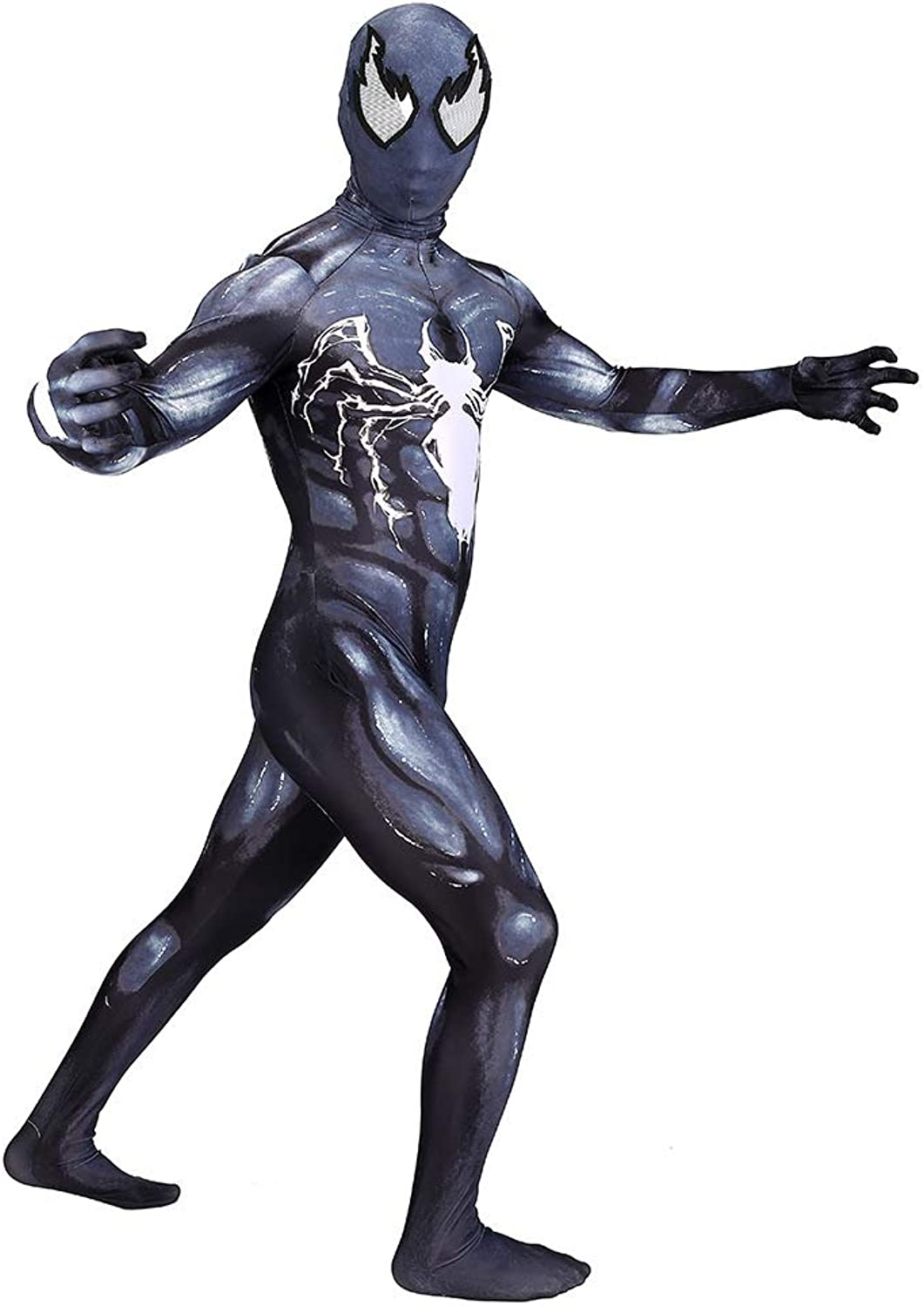 ASJUNQ Venom SpiderMan Siamese Skinny Clothes Cosplay Halloween Fancy Dress Party Theme Party Movie Props,AdultL