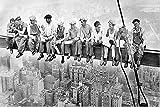 bestforhome-Leinwandbild Skylunch Retro Foto Bauarbeiter