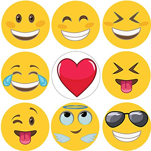 GlossTrick 1.4' Emoji Stickers 200 in Roll for Kids, Students, Teachers, Doctors - Happy Smiley Face Stickers