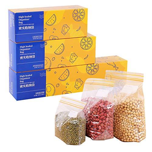 Richiudibili Sacchetti per Alimenti Bustine Trasparenti, Borsa con Chiusura a Cerniera Rigida Riutilizzabile, BPA Libero ((3 scatole) S+M+L)