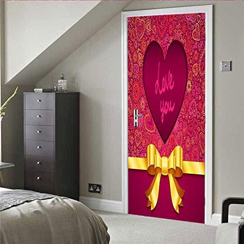 Türaufkleber True Love 3D Selbstklebende Wohnzimmer Schlafzimmer Tür Aufkleber Wasserdichte Nicht Verzogene Kante Wandaufkleber Tapete Aufkleber