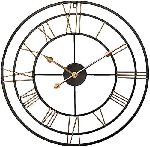 Reloj De Pared Vintage Grande 60 Cm, Metal Redondo, Silencioso, Sin Tictac, Funciona Con Pilas, Relojes Con NúMeros Romanos Negros Para El Hogar, La Oficina, El Interior Y La...