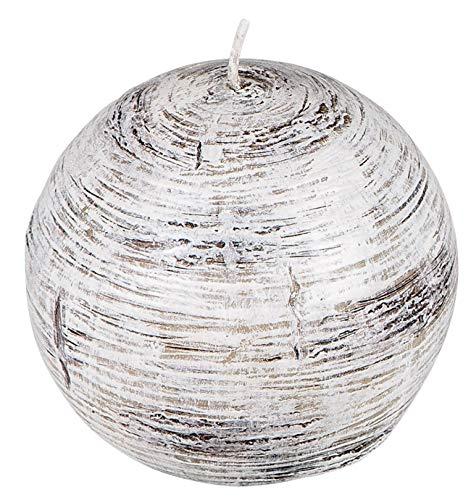 dekojohnson Kugelkerze Weihnachtskerze Adventskranzkerze in Birke-Holz-Optik Qualitätskerze weiß braun 9cm Ø durchgefärbt