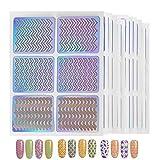 SENDILI Stencil Ongles Nail Art - Lot de 12 pochoirs en 3D Nail Art Sticker pour la Décoration des Ongles Set D'autocollants pour Ongles, Clear 02, 12 pièces