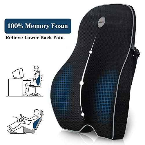 Villsure Lumbar Support Pillow, Memory Foam Back Cushion with Breathable 3D Mesh for Car Seat,Office/Computer Chair and Wheelchair,Ideal Ergonomic Back Pillow for Back Pain Relief