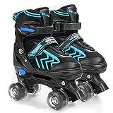 Kids Roller Skates for Boys Adjustable Roller Skates for Boys, Girls with 8 Wheels Lighting for Indoor Outdoor Quad Skates (Black&Blue, Medium - Big Kid)