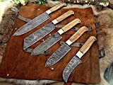 5 Pieces Chef Knives Set, Chef Knife, Santoku Knife, Peel Knife, Vegetable Knife, Overall 54 Inches Full Tang Hand Forged Damascus Steel Blade, Custom Made Leather Sheath