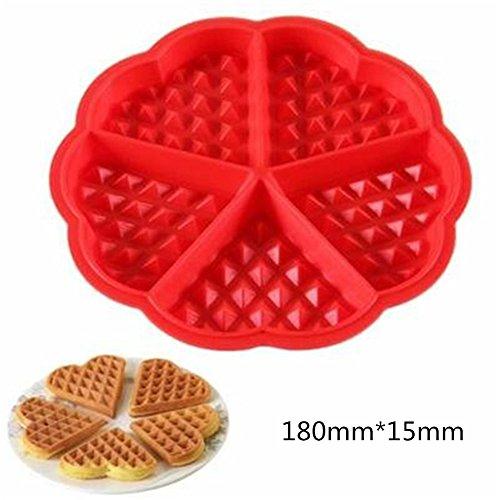 CAOLATOR DIY gaufre rond/Cookie/Gâteau de Kraft Moule rond plaque 5 gaufres forme de coeur à chocolat pâtisserie Silicone forme spécifique outil cuisine cuisson en silicone