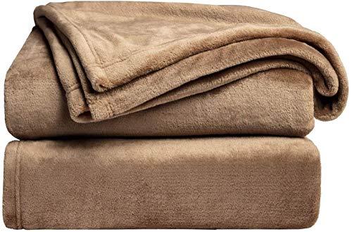 Bedsure Fleece Blanket Twin Size Taupe Lightweight Blanket Super Soft Cozy Beige Blanket
