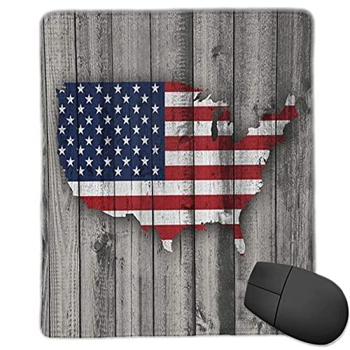 VINISATH Alfombrilla Raton Bandera de EE. UU. Mapa Estadounidense en Paneles de Madera Gris Vintage rústica, tablones, Tema de cabaña rústica Alfombrilla Gaming Alfombrilla para computadora