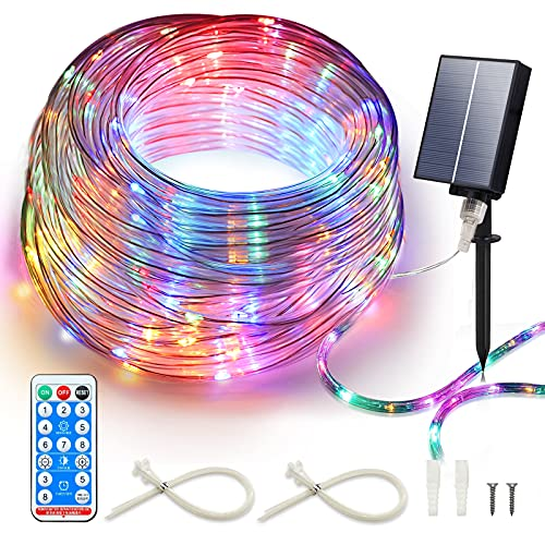 ICRGB Solar Rope Lights Outdoor with Remote, 72FT 200 LED 8 Modes Fairy Lights Outdoor Waterproof Garden Solar Lights Decorative for Patio Pool Wedding Christmas
