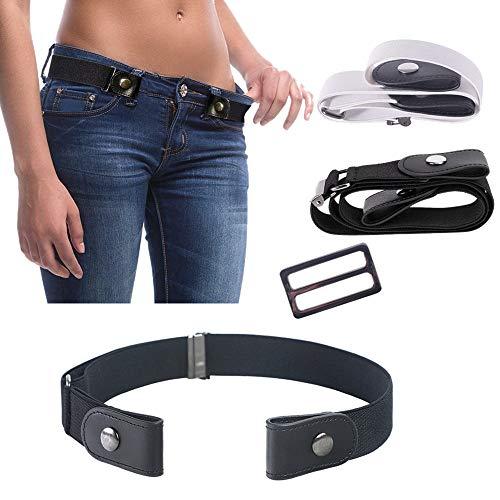 Crazy-M 2 STK Elastischer Gürtel Damen Unsichtbarer Gürtel Für Jeans Hosen Ohne Schnalle elastischer Gürtel Strecken Einstellbar Taillengürtel Justierbar Stretchgürtel Dehnbarer Gürtel