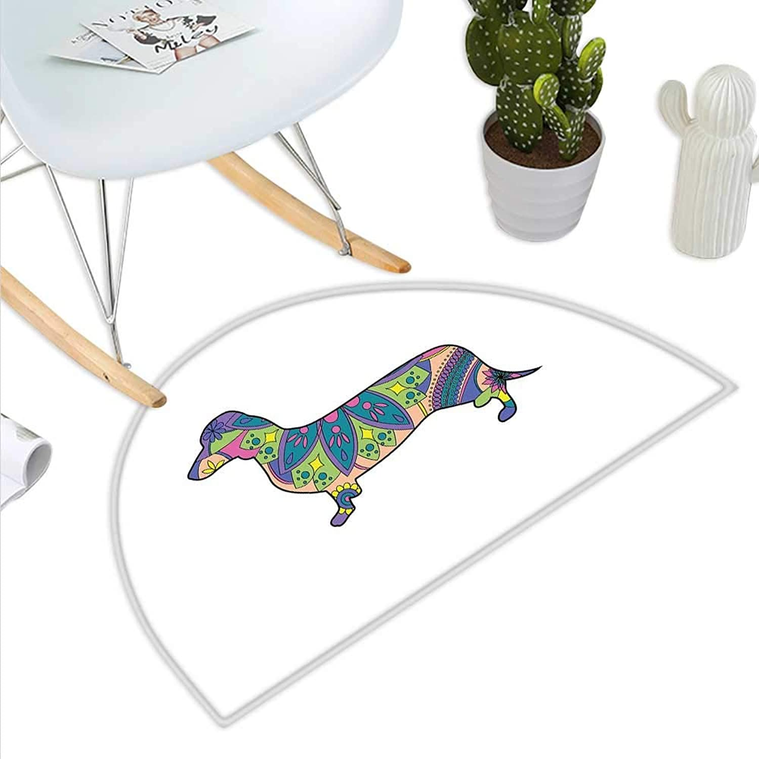 Dachshund Semicircle Doormat colorful Small Puppy Silhouette with Floral Composition Pattern Lily Blossom Halfmoon doormats H 39.3  xD 59  Multicolor