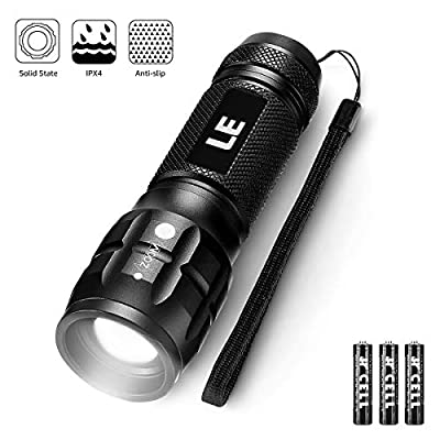 LE Adjustable Focus Mini LED Tactical Flashlight Torch, CREE LED, Zoomable, Small Flashlight, Super Bright, Batteries Included