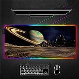 ZETIAN Glühende RGB-Mauspads Übergröße Verwendete Matte Gaming Mauspad Große Tastatur Pad Gaming Zubehör Leuchten Mousepad-Spieler-Planet_300X700X4MM