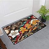 Kinhevao Schlafzimmer-Fußmatte, Lebkuchenmann-köstliche selbst gemachte Plätzchen-Trockenfrüchte...