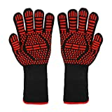 BBQ Gloves, 1472°F Extreme Heat/Fire Resistant Oven Gloves, Non-Slip Silicone Grill Glove, Kitchen Oven Mitts for Cooking, Grilling Potholder, Smoker Baking, Barbecue, Frying, Cutting, Welding, 1 Pair