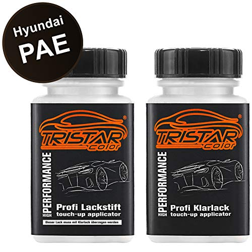 TRISTARcolor Autolack Lackstift Set für Hyundai PAE Phantom Black Metallic Basislack Klarlack je 50ml