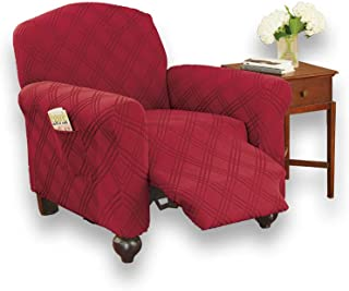 Collections Etc Double Diamond Form Fit Stretch Furniture Slipcover, Burgundy, Jumbo Recliner