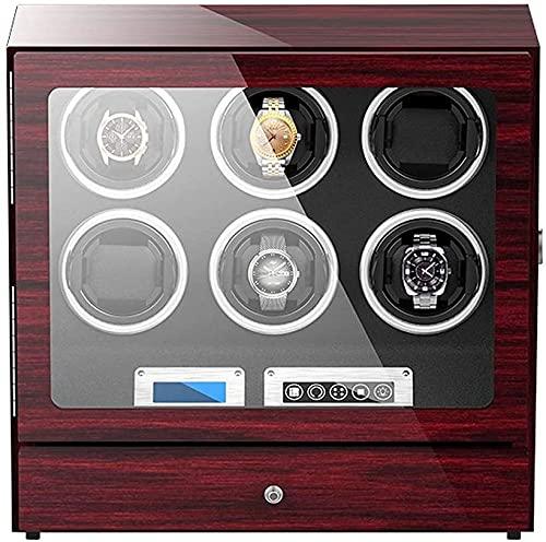 PLMOKN Reloj Caja de Winder para 6 Reloj automático con cajón de Almacenamiento Reloj Ajustable Almohadas Toque Pantalla de visualización Toque Motor Cumpleaños Regalo/Rojo