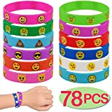 78-Pack Emoji Emoticons Wristbands Bracelets Set,Kids Size Silicone Bracelet for Kids Party Favors,Birthday Party Supplies,Prize Rewards
