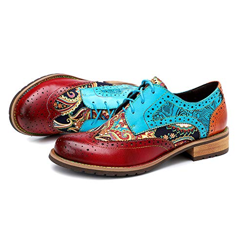 CrazycatZ Women's Leather Oxford Shoes Perforated Lace up Wingtip Colorful Leather Oxfords Vintage (RED, Numeric_10)