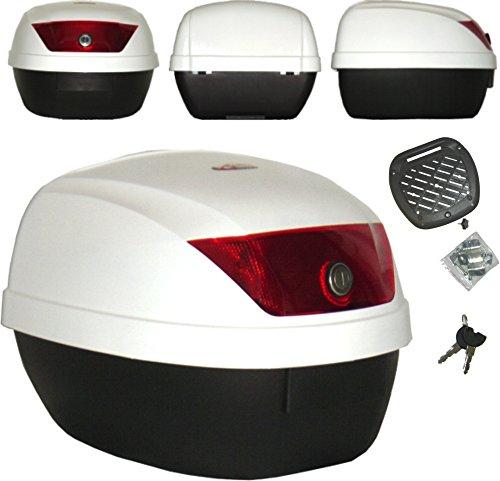 A-Pro - Maleta de Moto, Universal, del Polipropileno, Parte Superior Blanca, portaequipajes, para escúter