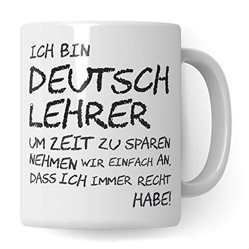 Pagma Druck Lehrer Tasse Deutsch, Geschenk für Deutschlehrer, Kaffeetasse Geschenkidee Deutsch Lehrer Tasse lustig, Kaffeebecher Lehramt Schule Abschied Abschluss Witz