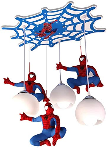 Pendelleuchte LED Leuchter(3-flammig) Moderne Hängeleuchte Persönlichkeit Spiderman Kinderzimmer Kronleuchter glas Kreative Cartoon-Lampe Hängelampe Holz E27 Fassung für Ohne Leuchtmittel