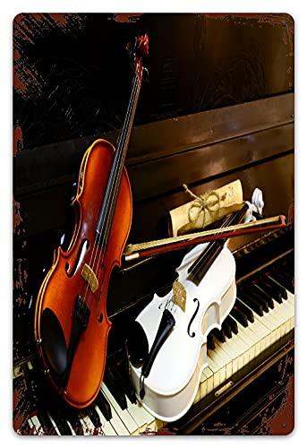 MIFSOIAVV Targhe in Metallo Vintage Placca Poster I Tasti del Pianoforte Sono spartiti Vintage per violini Bianchi e in Legno Decorativa Appendere Quadro per Bar Pub Arredo Murale 20x30cm
