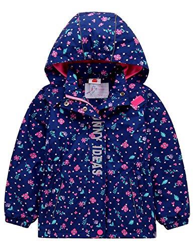 Echinodon Mädchen Gefütterte Outdoorjacke Wanderjacke wasserabweisend Winddicht Kinder Jacke Regenjacke Übergangsjacke Funktionsjacke Blau 98-104