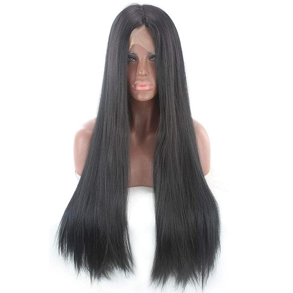 羊の服を着た狼メンバーミシンBOBIDYEE ヨーロッパとアメリカの女性の黒の長いストレートヘアフロントレースかつらヘッドギア複合ヘアレースかつらロールプレイングかつら (色 : Photo Color, サイズ : 24 inches)