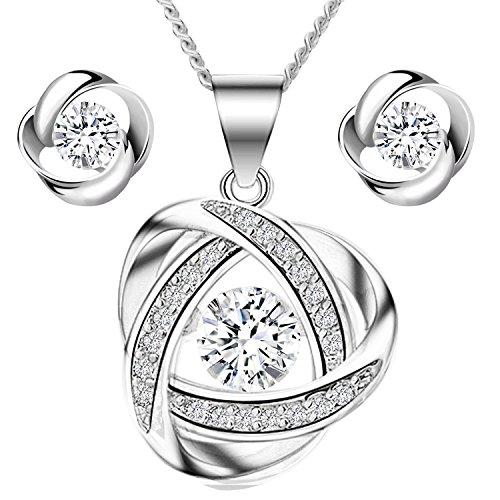 MYA art Damen Kette Ohrringe Set 925 Sterling Silber Infinity Ring Anhänger mit Zirkonia Strass Stein Halskette Ohrstecker Schmuckset MYASIKET-90