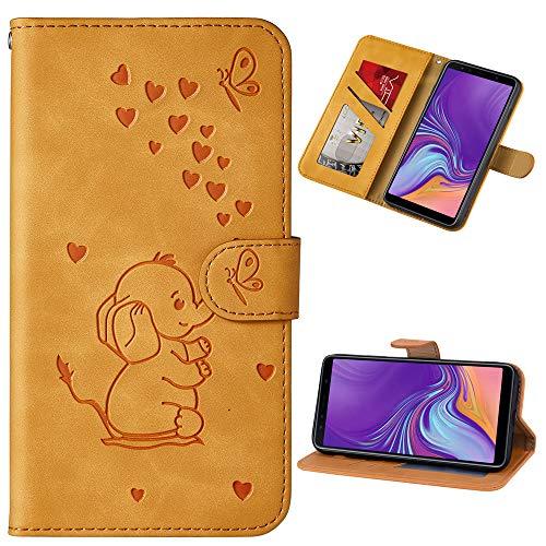 Capa carteira XYX para iPhone Xs Max 6,5 polegadas, [elefante amor em relevo] capa protetora flip de couro PU com compartimentos para cartão para meninas/mulheres, amarelo