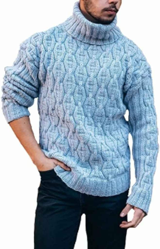 ZYING Turtleneck Mens Pullover Autumn Winter Soft Warm Solid Comfortable Spacious Clothes Knitted Cotton Casual Sweater (Color : Style 1)