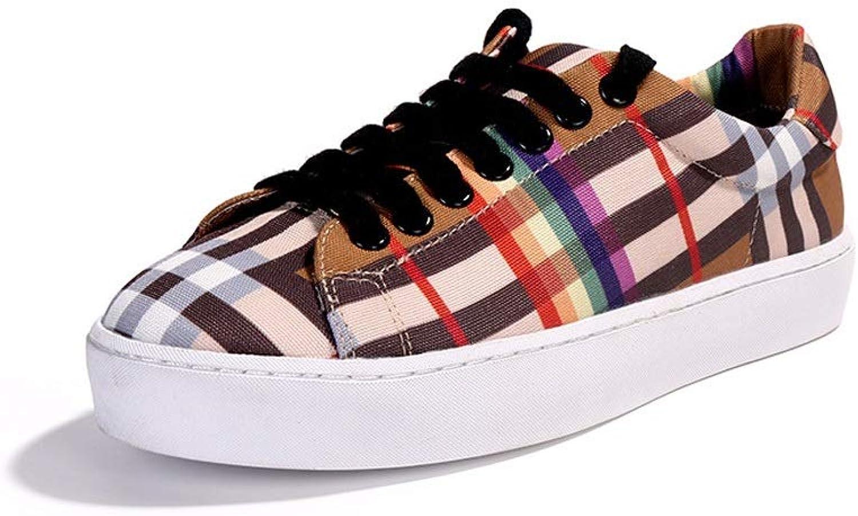 Ailj Canvas shoes, Ms Spring And Autumn Lattice Single shoes Canvas Upper Lace Flat shoes (lattice) (color   A, Size   EU 40 US 9 UK 7 JP 26cm)