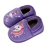 Cheerful Mario Boys Girls Slippers Household Warm Toddler Slippers Non Slip Little Kid Slippers Cute Winter Baby Slippers(Purple/5-6Toddler)