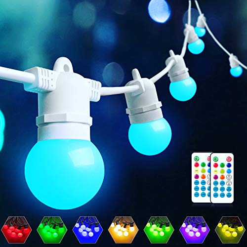 Color Changing LED Outdoor String Lights & Warm White 48FT, Dimmable LED RGB Patio Lights String with 15+3 G45 Shatterpoof Edison Bulb, Waterproof Café Lights White Wire with Remote Control