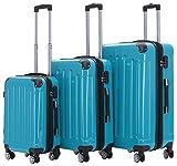BEIBYE- 3er Kofferset Hartschalen-Koffer Reisekoffer Trolley Rollkoffer Set Reisekofferset (Türkis)