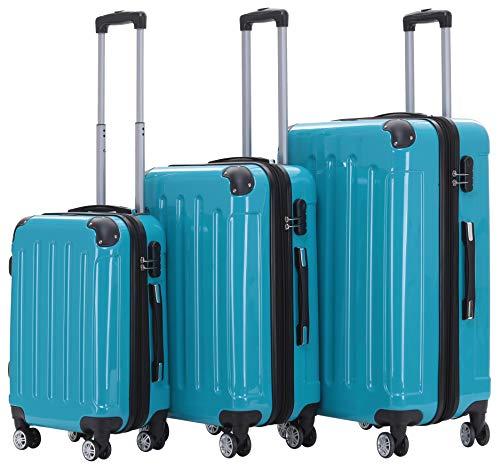 BEIBYE Zwillingsrollen 2048 Hartschale Trolley Koffer Reisekoffer Taschen Gepäck in M-L-XL-Set (Türkis, Set)