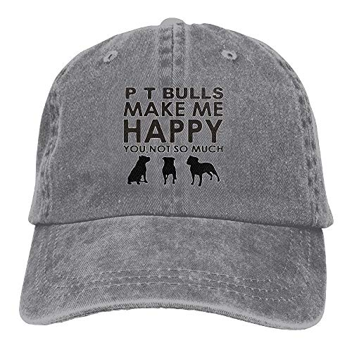 QUEMIN Pit Bulls Make Me Happy You, Not So Much Gorra de algodón con Broche Trasero