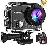 Crosstour Caméra Sport 4K Wi-FI Ultra HD Étanche 2' LCD 30M sous-Marine 170° Grand-Angle avec 2 Batteries Rechargeables 1050mAh et Kit d'Accessoires pour Cyclisme Natation Plongée (CT9000-New)