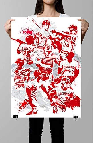 Big Red Machine Cincinnati Reds Sports Sports Art Baseball Sports Print Kids Johnny Bench Pete Rose Man Cave Wall Art Print Poster, Canvas Gallery Wraps Wall Decoration