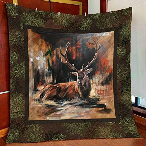 Deer Jungle Quilt Blanket Outdoor Picnic Beach Blanket Twin Throw Queen King Size Bed Quilts Best Decorative for Bed, Couch, Sofa, Chair, Swing, Daybed, Home Decor
