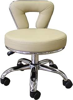 CCI Beauty Adjustable Padded Rolling Swivel Pedicure Stool with Backrest (Short)
