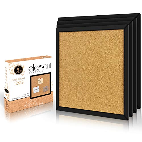 Elegant Boards 4 Pack Cork Bulletin Board 12X 12 Square Wall Tiles, Modern Black Framed Boards for Home and Office (Hardware and Template Included)