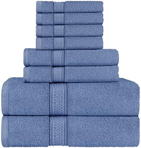Utopia Towels - Handdoekenset, Elektrisch Blauw - 2 Badhanddoeken, 2 Handdoeken, en 4 Washandjes, 600 GSM 100% Premium Ring Spun Cotton Hoogwaardige Absorberende Handdoeken voor Badkamer, Douchehanddoek (8 Stuks)