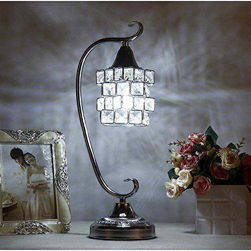 Duurzame Europese en modieuze Crystal LED bureaulamp, LED nachtlampje, met volledige K9 Crystal Magic Cube Design lampenkap & metalen beugel voor slaapkamer, woonkamer, decoratie, geschenk, witte Lig licht