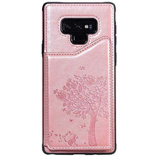 Bear Village Coque pour Galaxy Note 9, Gaufrage Design Antichoc Coque avec Slots de Carte, Portefeuille Housse en PU Cuir pour Samsung Galaxy Note 9, Or Rose