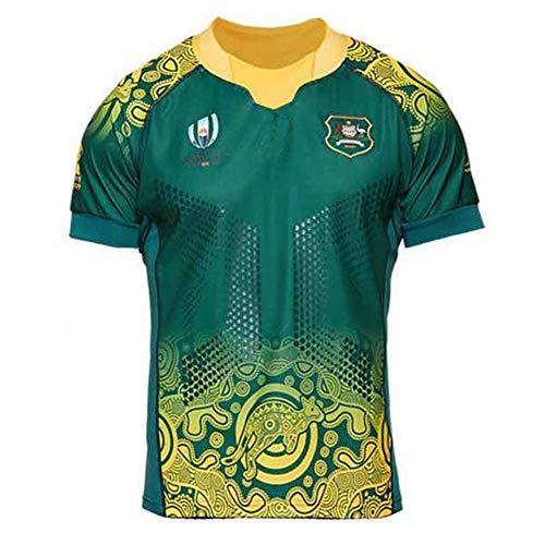 LQWW Sports Fan Jerseys,Rugby World Cup Australia Wallabies Rugby Jersey Polyester Dries Fast T-Shirt,Green,XXL